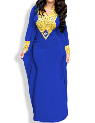 African Style Formal Caftan V Neck Dresses For Women's Spandex Abaya Kaftan