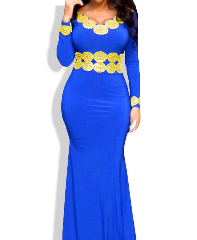 African Attire Formal Caftan V Neck Dresses For Women's Spandex Abaya Kaftan