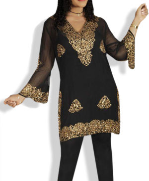 Stylish Tunic Golden Bead Work