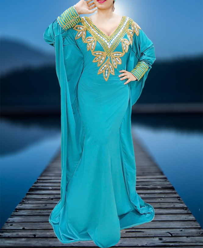 Fancy Moroccan Hand Beaded Party Kaftan Abaya for Women