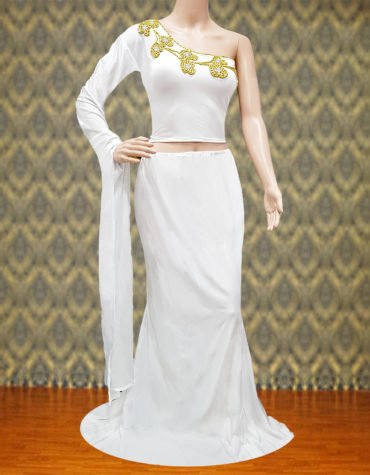 Golden Beads One Side Elegant Sleeve Sexy 2 Piece Party Wear
