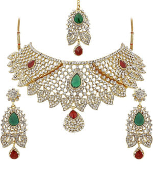 Multicolor Diamond Choker Necklace Set For Women