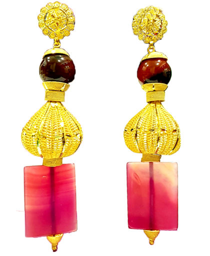 Colorful Beads with Golden Plated Earrings