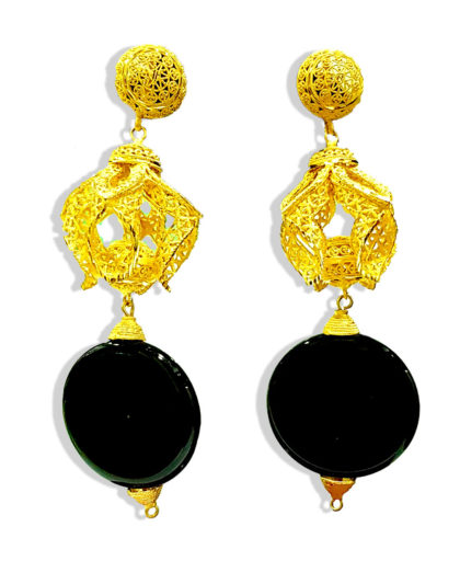 Circle Flate Beads with Golden Plated