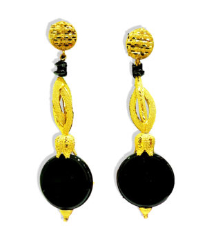Golden Plated Premium Black Beads Earring
