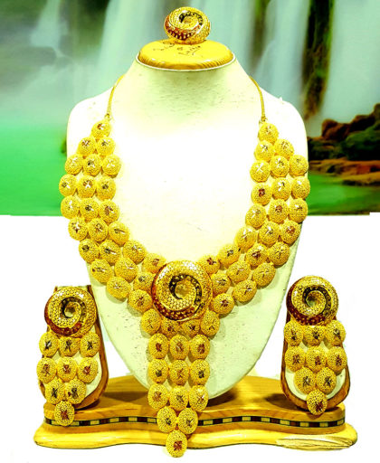 African Collection Golden Plated Necklace Set