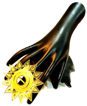 Round Net Design Golden Plated Finger Ring