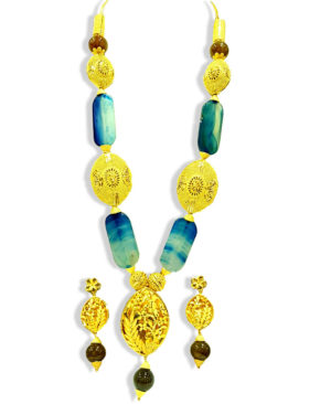 Colourful Long Beads Design Golden Plated Necklace