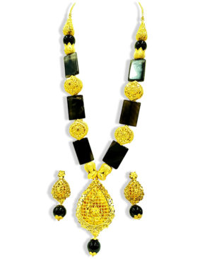 Rectangular Beads Golden Plated Necklace Set