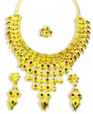 Jaali Design Golden Plated Necklace Set