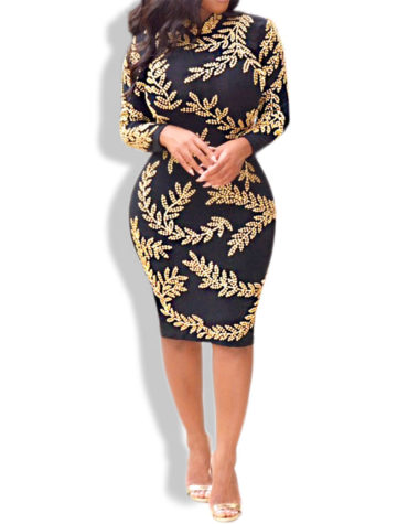 Golden Work Gorgeous Leaf Design Spandex Dress