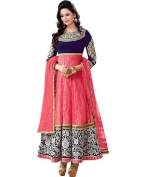 Georgette And Velvet Long Style Anarkali Suit