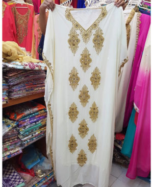 Golden Beads Stone Work Long Sleeve Chiffon Kaftan