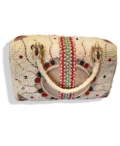 White Beads And Threads Fringed Bag