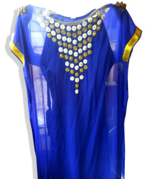 Silver And Golden Beads Work Chiffon Kaftan