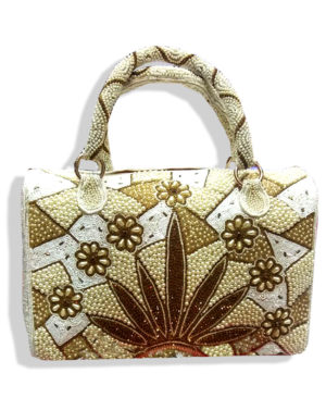 White And Golden Beads Crystal Work Fringed Bag