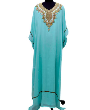 Copper Gold Beads Work Designer Chiffon Kaftan