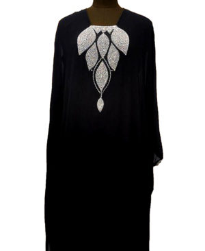 Silver Stone And Black Beads Work Chiffon Kaftan
