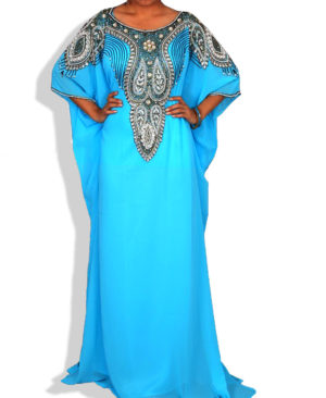 Silver Stone And Colour Crystal Work Chiffon Kaftan