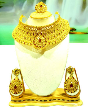Red Beads Chokar Design Golden Plated Necklace