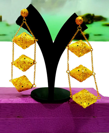 Long Premium Design Golden Plated Earring Set