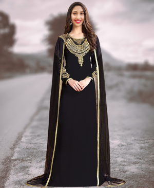 Gorgeous Copper Beaded Work Chiffon Kaftan