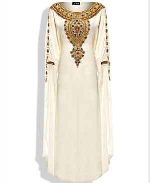 Beautiful Silver Stone Golden Work Chiffon Kaftan
