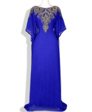 Embellished Golden Stylish Work Chiffon Kaftan