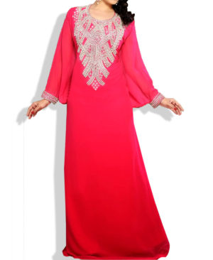 Gorgeous Silver Beaded Work Chiffon Kaftan