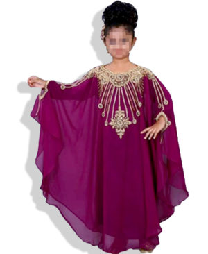 Golden Stylish Full Sleeve Work Chiffon Kaftan