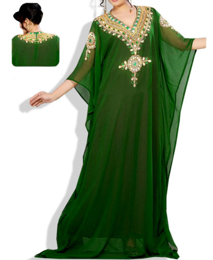 Golden Stylish Colour Stone Work Chiffon Kaftan