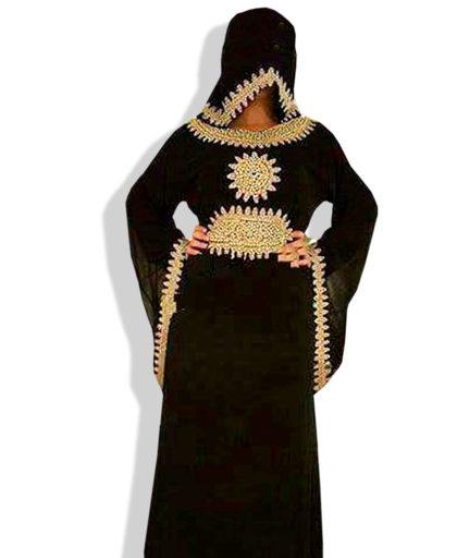 Atractive Umbrella Sleeve Golden Work Chiffon Kaftan