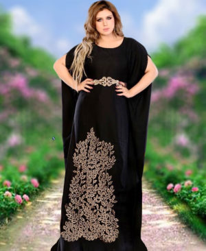 Women Floor Length Kaftan African Maxi Dress Black Kaftan