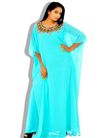 Crystal Work Golden Beads Chiffon Kaftan
