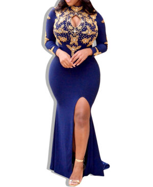 Exclusive Golden Work Design Spendex Dress