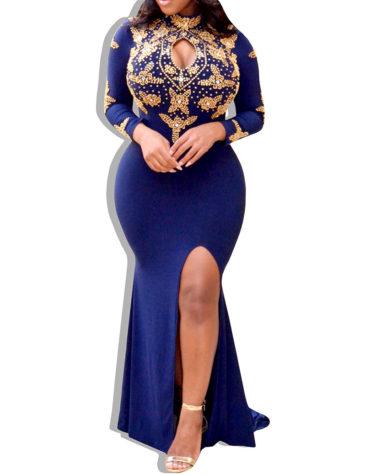 Exclusive Golden Work Design Spendex Dress
