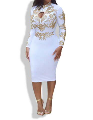 Golden Work fullSleeve Gorgeous Spandex Dress