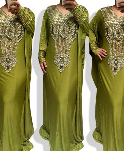 Solange Parrot Dress Crystal & Gold Beads
