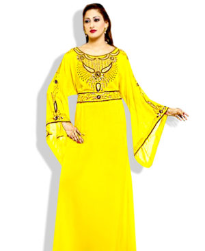 Muslim Dress Yellow Zari Work Stones & Beads