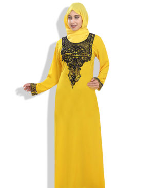Latest Abaya Muslim Yellow Dress Zari Work Stones & Beads