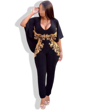 Golden Beads Jumpsuit Style Black Lycra Dress