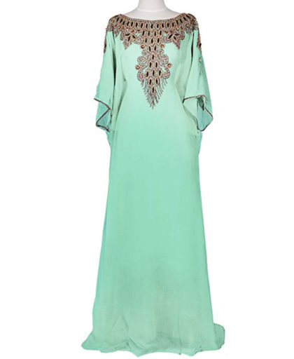 Embellished Maxi Dubai Golden Work Beaded Evening Kaftan