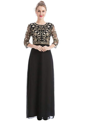 Evening Dress Floral Work Party Wear Chiffon Kaftan