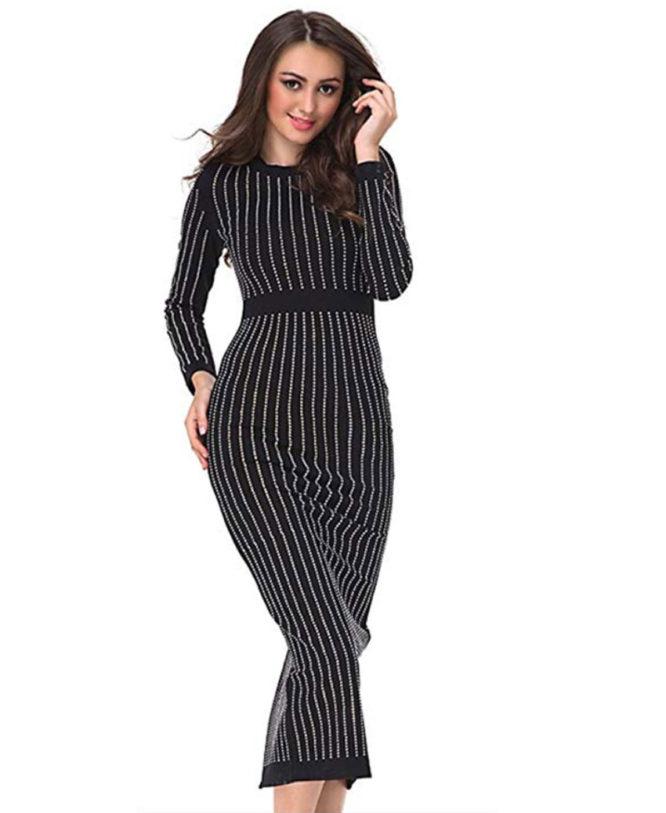 Women's Long Sleeve Rhinestone Embellished Evening Dress