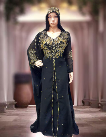 Beautiful Golden Beads Work Chiffon Kaftan