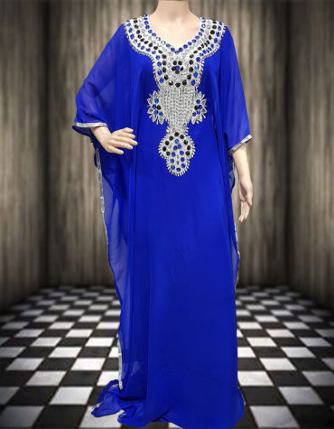Gorgeous Silver Work Jalabiya Womens Kaftan