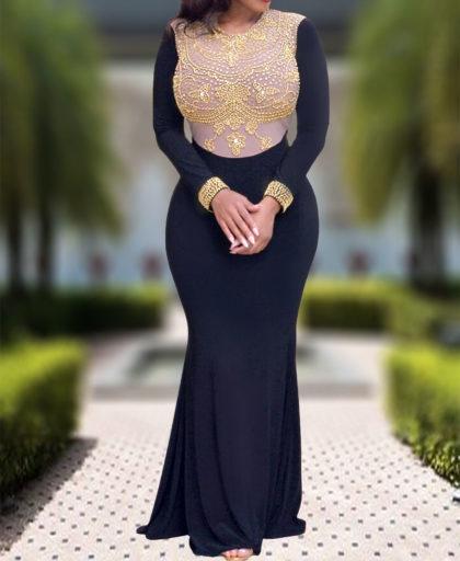Golden Beads Floor Length Lycra Dress