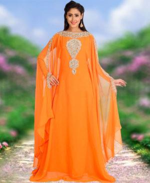 Women Style Moroccan Work Chiffon Kaftan