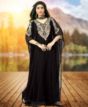 Evening Dress Golden Work Party Wear Dubai Kaftan