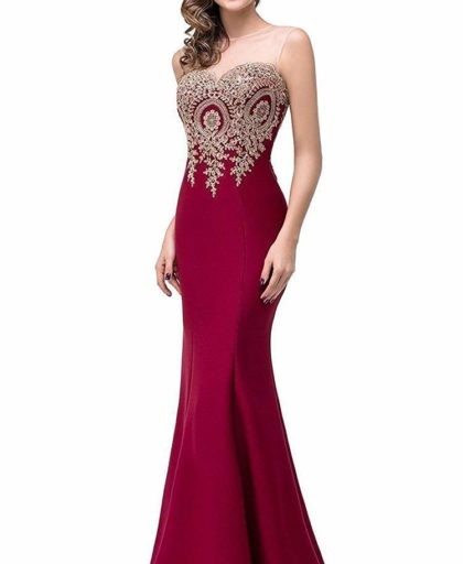 Sleeveless Long Red Lace Appliques Mermaid Evening Formal Dress